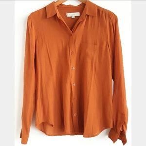 LOFT | Orange Pumpkin Linen Buttoned Down